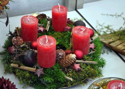 Adventskranz Natuerlich Gruen Rot