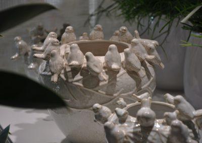Keramiktoepfe Mit Voegeln Weiss